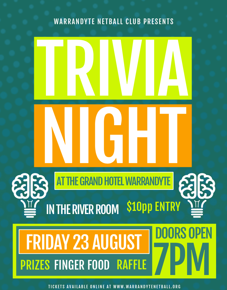 netball fundraiser - trivia night