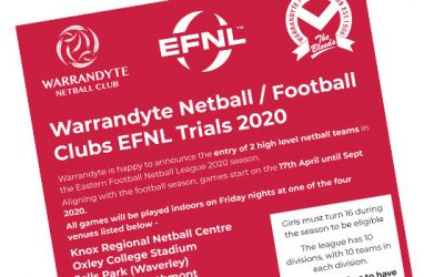 Warrandyte Netball / Football Clubs EFNL Trials 2020