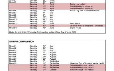 Doncaster & District Netball Assoc. Playing Calendar 2021