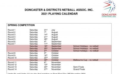 Doncaster & District Netball Assoc. Playing Calendar Spring 2021